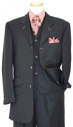 Tayion Platinum Collection Navy Blue / Mauve / Sky Blue Pinstripes With Muave Hand-Pick Stitching Super 140\'S Extra Fine Wool Vested Suit JIN31825/11W