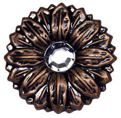 "LL-2908 Copper Sunflower Crystal 1-1/2"" Concho"