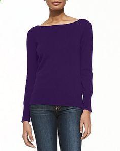 Bateau-Neck Cashmere Sweater, Womens ,Neiman Marcus $115.00 (55% OFF)