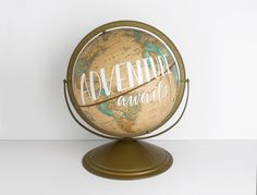 World Globe Tan 12 inch painted Adventure Awaits Wanderlust Vintage Travel Boho Decor Wild and Free Designs