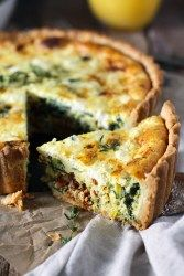 Leek, Sun-Dried Tomato, and Goat Cheese Deep Dish Quiche packed with veggies and bursting with flavor! Tender and flaky crust filled with a fluffy egg center baked with sautéed leeks and spinach, sun-dried tomatoes, and creamy goat cheese. Leek Quiche, Goat Cheese Quiche, Spinach Quiche Recipes, Veggie Quiche, Spinach And Cheese, Deep Dish Quiche Recipe, Goat Milk Recipes, Vegetarian Recipes, Vegetarische Rezepte