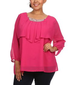 C.O.C. Magenta & Ivory Pearl Ruffle-Layered Top - Plus | zulily   $19.99  Pretty. Dressy . Wear with pearl studs?