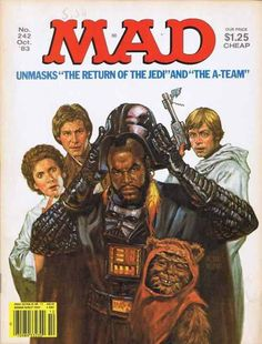 MAD Magazine Star Wars issue in Oct 1983 revealed the man behind the Darth Vader mask: Mr T.