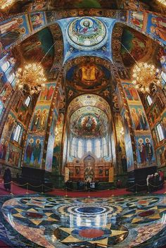 [inside Church on Spilled Blood St Petersburg] The Church on Spilled Blood — St. Petersburg, Russia- photos only capture part of the grandeur! It is awe inspiring! Russian Architecture, Church Architecture, Beautiful Architecture, Beautiful Buildings, Zar Nikolaus Ii, Places Around The World, Around The Worlds, St Petersburg Russia, Cathedral Church