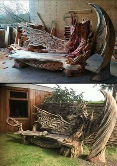 Tagged with awesome, dragon, fantasy, woodworking, carpentry; Wood Carving Art, Wood Art, Carving Board, Tree Carving, Wood Carvings, Unique Furniture, Diy Furniture, Luxury Furniture, Art Sculpture En Bois