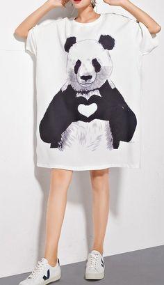 New women loose fit plus over size cartoon panda bear animal dress tunic shirt Dress And Sneakers Outfit, Shirt Outfit, Cartoon Panda, Tunic Shirt, T Shirts For Women, Clothes For Women, Women's Fashion, Plus Size, Casual