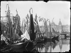 Damrak (water), Amsterdam 1898. Foto: Jacob Olie