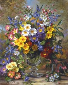 Painting by artist Albert Williams. Painting Still Life, Still Life Art, Arte Floral, Botanical Art, Beautiful Paintings, Art Lessons, Flower Art, Painting & Drawing, Flower Arrangements