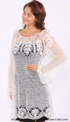 DE MIS MANOS TEJIDOS Y MAS...: Vestido blanco a crochet
