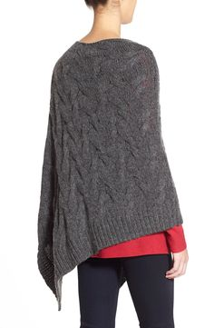 Eileen Fisher Funnel Neck Cable Knit Poncho | Nordstrom