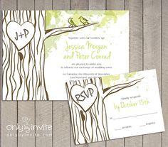 Oak Tree Wedding Invitation | Hearts and Initials carved in tree - wedding invitation for forest Wedding