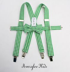 Houndstooth Suspender and Bow Tie Set Green Black by AveryleeKids/ ring bearer