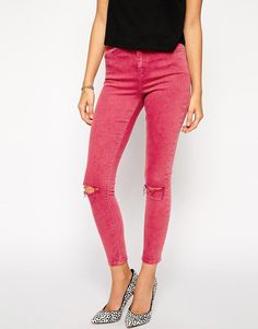 Shop ASOS Ridley Skinny Ankle Grazer Jeans in Rose Plum with Ripped Knees at ASOS. Ripped Knees, Ripped Skinny Jeans, Cut Out Jeans, Ankle Grazer Jeans, Plum, Fashion Online, Winter Fashion, Asos, Capri Pants