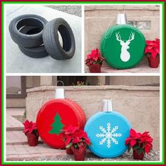 Dollar Store Crafter: Turn Old Tires Into Giant Outside Christmas Orname...