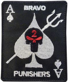 ace of spades seal team 2 bravo punishers embroidered skull hook-and-loop US NAVY SEAL COMMANDO  patch