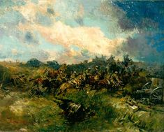 Cavalry and Tanks at Arras by Lieutenant Alfred Bastien (1918) / In July and August 1918 Lieutenant Bastin was attached as an artist to the Canadian 22nd Battalion. 1y