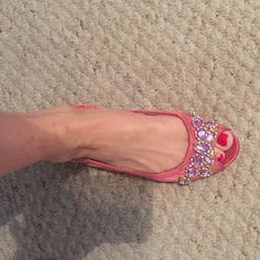 Pink flats Pink flats with lavender and silver beads on the top Adrienne Vittadini Shoes Flats & Loafers