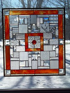 Bevels, Textured Clear & Orange Large Stained Glass Panel. $368.00, via Etsy.