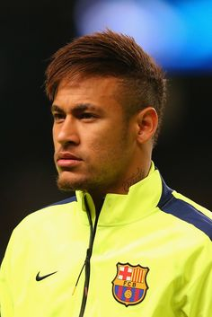 Neymar of Barcelona lines up during the UEFA Champions League Round of 16 match between Manchester City and Barcelona at Etihad Stadium on February 24, 2015 in Manchester, United Kingdom.