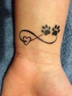 Infinity sign tattoo wrist black heart bear paw - tattoo - Tattoo Designs for Women Infinity Tattoos, Wrist Tattoos, Dog Tattoos, Mini Tattoos, Animal Tattoos, Body Art Tattoos, Small Tattoos, Tatoos, Bear Paw Tattoos