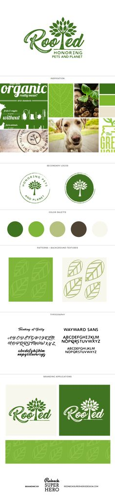 Rooted - Brand Board Green, organic, circle, vintage, stamp, circle, tree, plant, leaf, root, Business Name + Tagline  Pinterest Board Collaboration Logo Design Logo Submark / Variant Corresponding Patterns Brand Board / Mood Board Hangtag, Button or Sticker Design Business Card + Business Stationery Social Media Branding Official Brand Style Guide