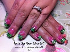 Acrylic #INM Northern Lights Neon Green and zebra nail art