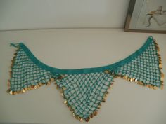 Beaded bellydancing hip scarf with coins - CROCHET