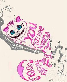 I like this image because it shows how the Cheshire Cat is still striped without using more than one colour on its body. I also like the image because a quote from the movie is shown through the shape of the character.