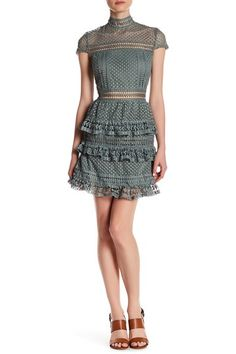 Image of Romeo & Juliet Couture Woven Cap Sleeve Mock Neck Lace Dress