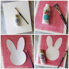 Tutorial on how to make a DIY painted Burlap Bunny Sign {ribbonsandglue.com}