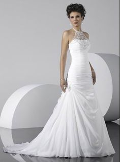 Wholesale Cheap Popular White Halter Beads Working Mermaid Chiffon Satin Chapel Train Wedding Dress for Brides