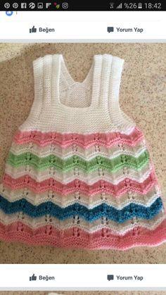 Vestido para roselin - Salvabrani Baby Cardigan, Knit Baby Dress, Baby Pullover, Freeform Crochet, Knit Crochet, Diy Crafts Knitting, Kurti Embroidery Design, Baby Sweaters, Baby Knitting Patterns