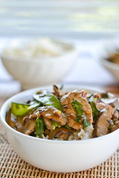 Stir-Fried Pork with Shiitake and Snow Peas. This was SOOO good. Lovely clean flavours and quick to prepare.I forgot the rice (oops) but no carbs won't hurt, right? I used ordinary mushrooms as shiitake would have cost me $25 for 500gm and THAT is not going to happen. We LOVED this.