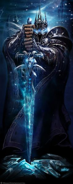 The original image used for World of Warcraft: Wrath of the Lich King. This means that this is the first time people saw the Frostmourne design for World of Warcraft since the Warcraft: The Frozen Throne. Dark Fantasy, Fantasy World, Fantasy Art, Final Fantasy, Dungeons And Dragons, Art Warcraft, Warcraft Dota, World Of Warcraft Game, World Of Warcraft Characters