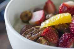 organic steel-cut oatmeal with roasted nuts & fresh fruit #food