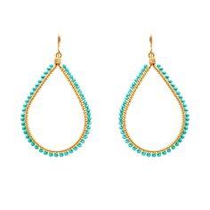 Turquoise Tear Drop Earrings, handmade in Brazil. $30
