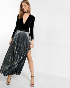 3195eb4157a express metallic slit front pleated maxi skirt (Alice + Olivia) Metallic  Pleated Skirt