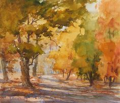 A painting demonstration from Watercolor Landscape Painting Essentials with Johannes Vloothuis. Click the image for 11 QA's with the artist! Watercolor Landscape Paintings, Watercolor Trees, Art Aquarelle, Learn To Paint, Art Plastique, Painting & Drawing, Painting Trees, Painting Techniques, Painting Inspiration