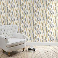 Triangle Ochre Wallpaper | Dunelm