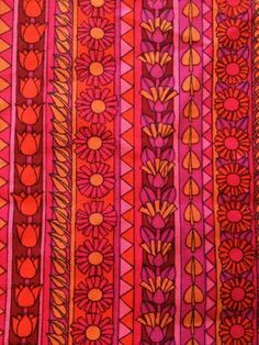 Vintage Pink Orange Red Floral Fabric Remnant 60 s 70 s Ranee By Jonelle