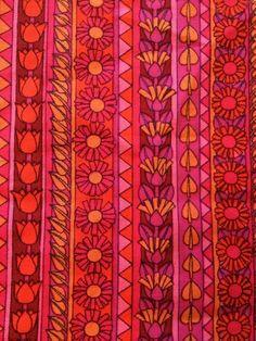 Vintage Pink Orange Red Floral Fabric Remnant 60 s 70 s Ranee By Jonelle