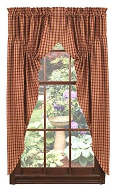 """New Primitive Country 63"""" Wine BURGUNDY & TAN CHECK PRAIRIE CURTAIN Window Swag #Country"""