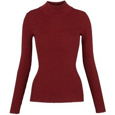 Designer Clothes, Shoes & Bags for Women Red Turtleneck, Long Sleeve Turtleneck, Ribbed Sweater, Long Sleeve Tops, Turtle Sweaters, Red Sweaters, Red Jumper, Rib Knit, Turtle Neck