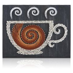 Coffee lovers, I need you to stand up. This is your moment so take full advantage of it and string together this awesome Swirling Coffee String Art Kit! Be the
