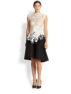 Oscar de la Renta High-Collar Lace  - White lace is such a timeless addition to any piece.