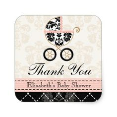 Pink and Black Damask Baby Carriage Thank You Sticker