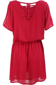 Red Short Sleeve Hollow Back Chiffon Dress 18.33