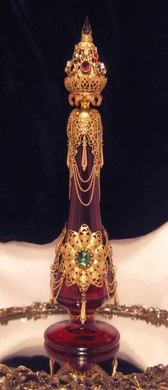 Crown Jeweled Ruby Red Filigree Antique Perfume Bottle Fit 4A Queen | eBay