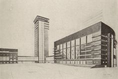Diploma project, Palace of Labor (1926). Designed by S. Kozhina at VKhUTEMAS. (via http://thecharnelhouse.org/2014/03/06/the-decantation-chamber-of-soviet-modernism-vkhutemas-projects-from-the-1920s/)