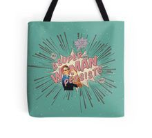 """Tote Bag - A Super Woman Persists comic book style retro art design was inspired by the anti-trump political resistance movement, along with ridiculous quote of """"She was warned. She was given an explanation. Nevertheless, she persisted"""" by Senate Majority Leader Mitch McConnell when Senator Elizabeth Warren was reprimanded for simply reading the words of Coretta Scott King on the Senate floor. Resist!"""